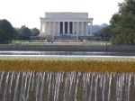A view of the Lincoln Memorial site from the World War II Memorial waterfall.