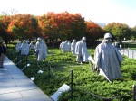 The Korean War Memorial.  Over 54,000 American lives were lost in this war that happened from 1950-1953.  My dad served in the Navy during the Korean War.  The statues are larger than life size and are made of Aluminum showing soldiers  on the move.