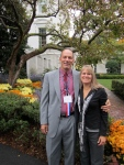 A picture of me and Mrs. Wheaton in front of the east garden area.