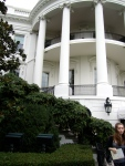 A close-up view of the South Portico and the balconies.  At the White House interior tour, they told us that often times bands and other groups would play on the lower balcony.  The top balcony is private only for the President and his family.