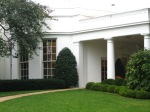 This is a picture of the West Wing and the oval office.  We heard from visitors that morning that some people were able to see the president walk from the private residence corridor to the executive office.  They also saw someone bring Bo, the First Dog out to go to the bathroom on the south lawn.